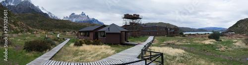 Fotografie, Tablou Paine Grande Refugio Campsite in Torres del Paine National Park, Chile