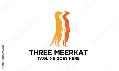 Canvas Print three meerkat logo design idea