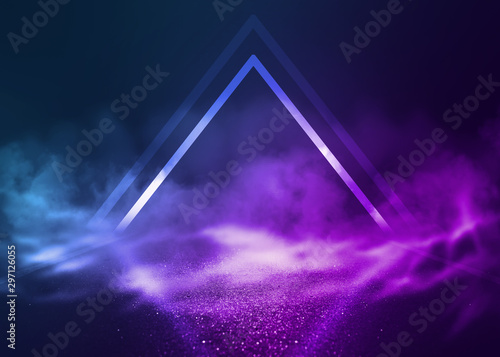 Empty background scene. Dark street reflection on wet asphalt. Rays of neon light in the dark, neon shapes, smoke. Background of an empty stage show. Abstract dark background.