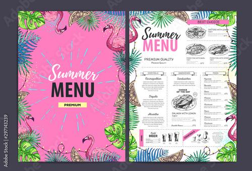 Carta da parati Restaurant summer menu design with tropic leaves and cocktails