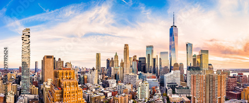 Canvas Print Aerial panorama of Lower Manhattan skyline at sunset viewed from above Greenwich street in Tribeca neighborhood