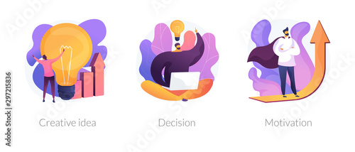 Innovative business strategy icons set. Brainstorm, problem solution development, personal growth. Creative idea, decision, motivation metaphors. Vector isolated concept metaphor illustrations
