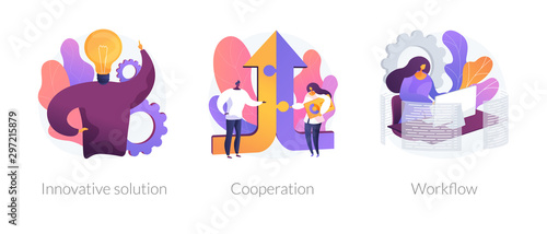 Effective work icons set. Creative ideas generation, team building, productivity management. Innovative solution, cooperation, workflow metaphors. Vector isolated concept metaphor illustrations