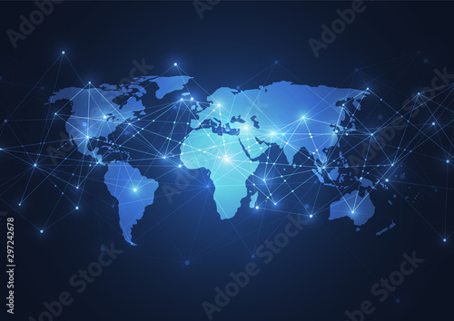 Global network connection. World map point and line composition concept of global business. Vector Illustration #297242678