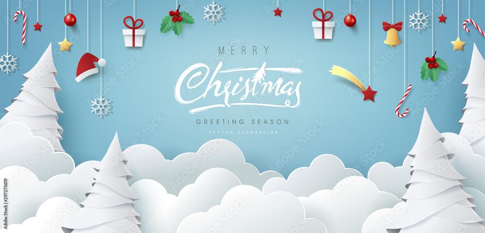 Zimowy skład Boże Narodzenie w stylu cięcia papieru. Wesołych Świąt tekst kaligraficzna napis ilustracji wektorowych. <span>plik: #297270619   autor: bokmok</span>