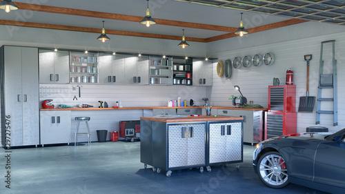 Valokuva Modern garage interior. 3d illustration