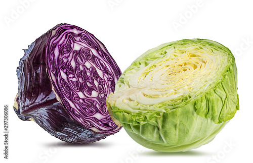 Photo Fresh  and green cabbages isolated on white background with clipping path