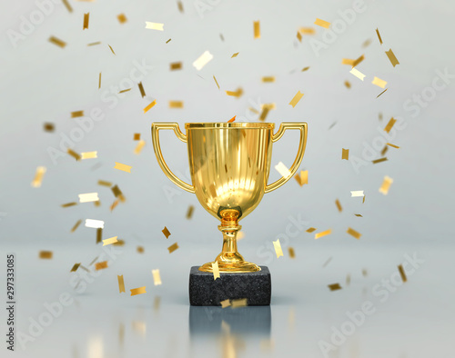 Fotografie, Obraz Gold winners trophy, champion cup with falling confetti