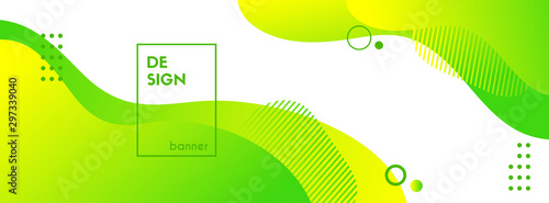 Green liquid banner template. Vector abstract background with green gradient fluid waves, organic shapes, text. Trendy banner for social media promotion