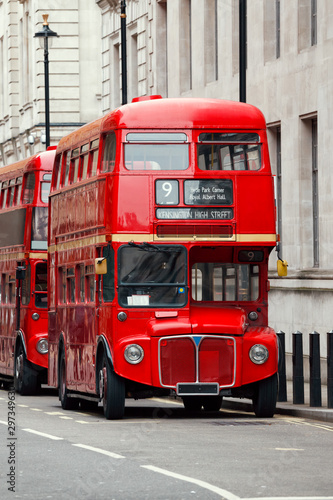 фотография Iconic red Routemaster double-decker buses in London UK