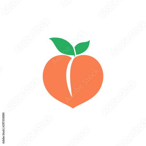 Photo Peach icon. Orange fruit. Vector logo.