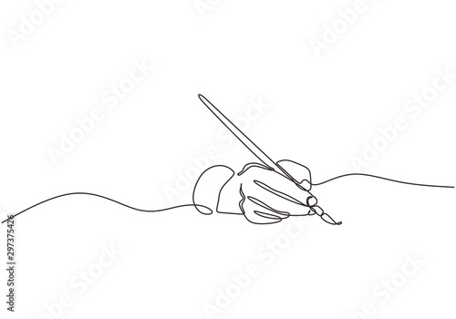 Fototapeta Single line drawing of hand golding art painting brush to make an artwork