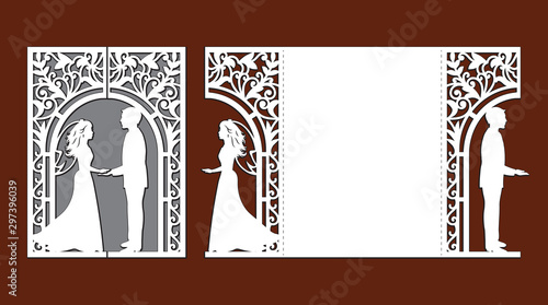 Valokuva Laser cut template of wedding invitation card with bride and groom