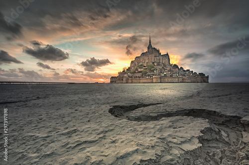 Fototapeta Sunset in Mont Saint Michel, Normandy, France,