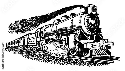 Fotografie, Obraz Steam Train, vintage illustration.