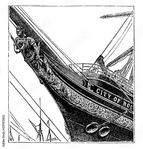 Fotografiet Figurehead of Ship, vintage illustration.