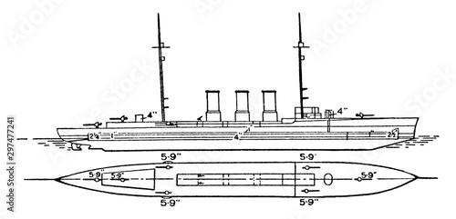 Fotografia Japanese Imperial Navy Tatsuta Battlecruiser, vintage illustration