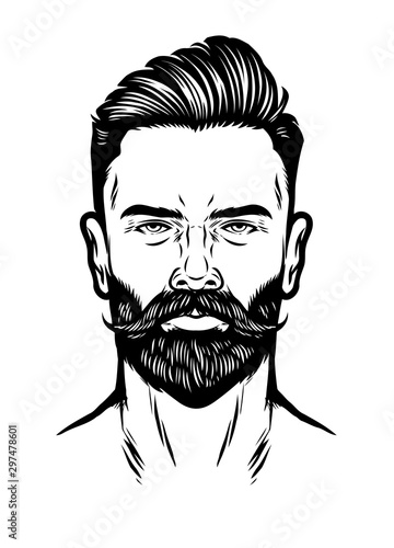 Leinwand Poster handdrawn man head with beard and pompadour hairstyle