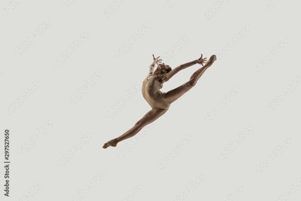Modern ballet dancer. Contemporary art ballet. Young flexible athletic woman.. Studio shot isolated on white background. Negative space. <span>plik: #297527650   autor: master1305</span>