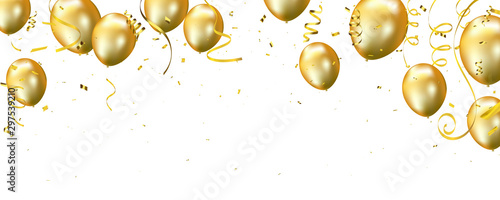 Fotografering Celebration banner with Gold balloons background
