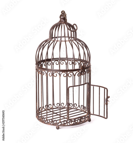 Fotografie, Tablou Empty birdcage on white background