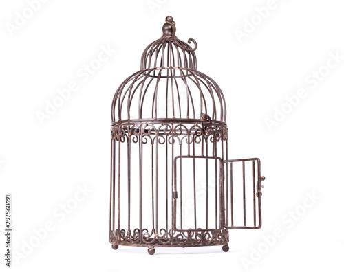 Tablou Canvas Empty birdcage on white background
