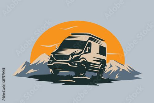 Murais de parede Camper van illustration with rocks and mountains