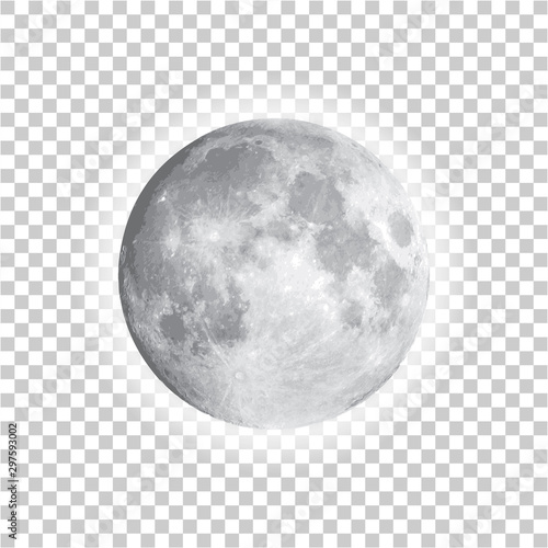 Fotografiet Full moon isolated with background, vector