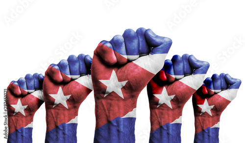 Photo A raised fist of a protesters painted with the Cuba flag