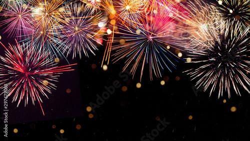 Obraz na płótnie Colorful firework with bokeh background
