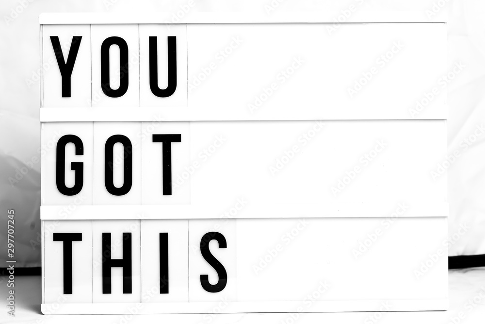 Inspirational You Got This quote on vintage retro board. Concept. flat lay <span>plik: #297707245 | autor: OV</span>