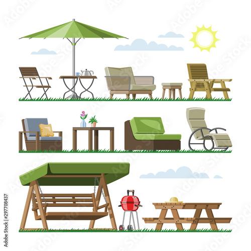 Garden furniture vector table chair seat on terrace design outdoor in summer bac Tapéta, Fotótapéta