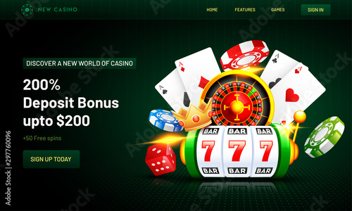 Fotografia Web banner or poster design with 3d casino elements such as slot machine, roulette machine, chips, crown and playing cards on green background