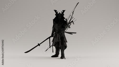 Fotografia Black Samurai made out of Polygon Triangles with a Lattice Frame 3d illustration