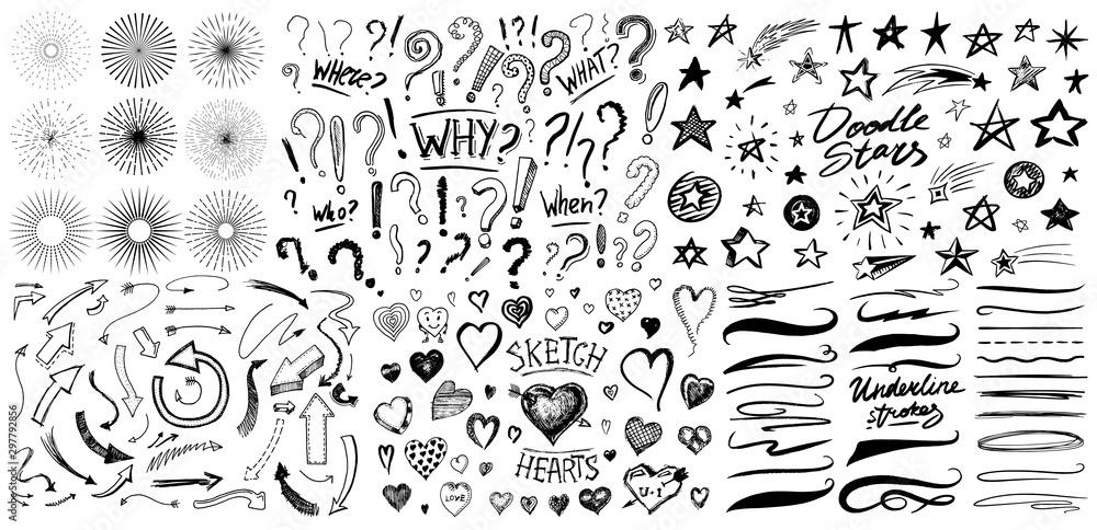 Pytanie wykrzyknik, podkreślenie i serca, Pędzel gwiazdy i markera, linie artystyczne i pociągnięcia. Zbiór ikon i znaków Dlaczego. Ręcznie rysowane Doodle szkic. Elementy abstrakcyjne chaotyczne grunge. <span>plik: #297792856   autor: artbalitskiy</span>