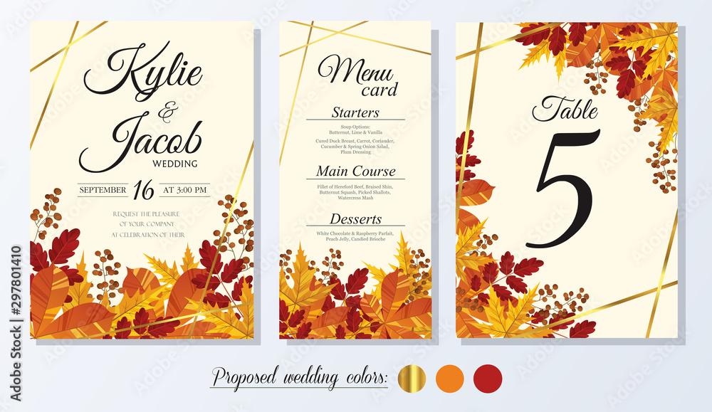 Zaproszenie na ślub, karta menu, numer tabeli. Kolekcja liściastych jesiennych liści kolekcja dąb, klon, kasztan i jesion. Ozdobny nadruk ramki. Wektor elegancki ładny rustykalny pozdrowienie, zaprosić pocztówkę. <span>plik: #297801410 | autor: Nessa</span>