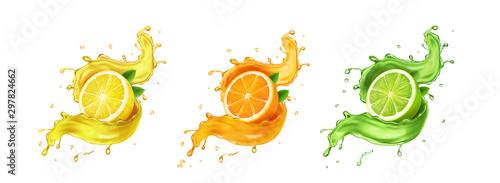 Fényképezés Juice splash lemon, orange, lime set