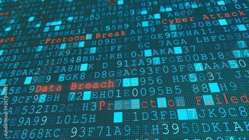 Fotografiet Digital wall virus data breach, system failure due to hacker server cyber attack
