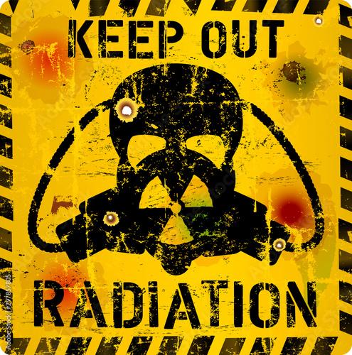 Radiation warning sign, skull and gas mask, grungy style,vector illustration Fototapeta