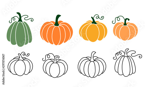 Photo A set of pumpkins, black outlined and colored
