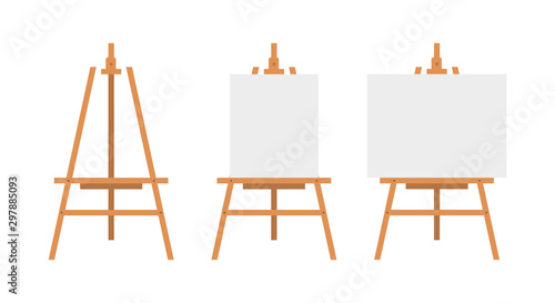 Photo Vector Set of Brown Sienna Wooden Easels with Mock Up Empty Blank Canvases Isolated on Background Paint Desk and White Paper Isolated On Background
