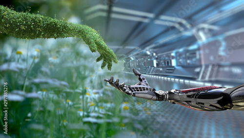 Canvas Print Green technology conceptual design, human arm covered with grass and lush and ro