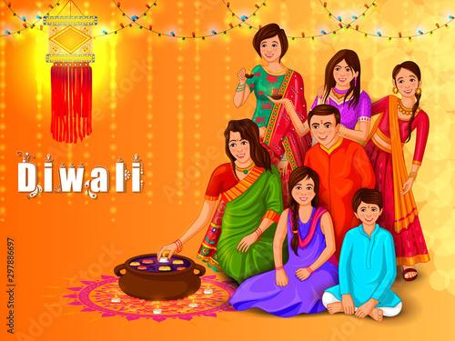 Fotografie, Obraz vector illustration of Indian family people celebrating Happy Diwali festival ho
