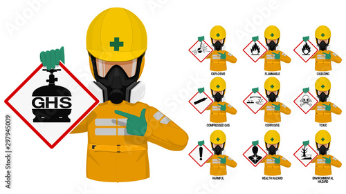 Fotografia, Obraz Set of industrial man in yellow chemical protective suit presents the GHS pictogram