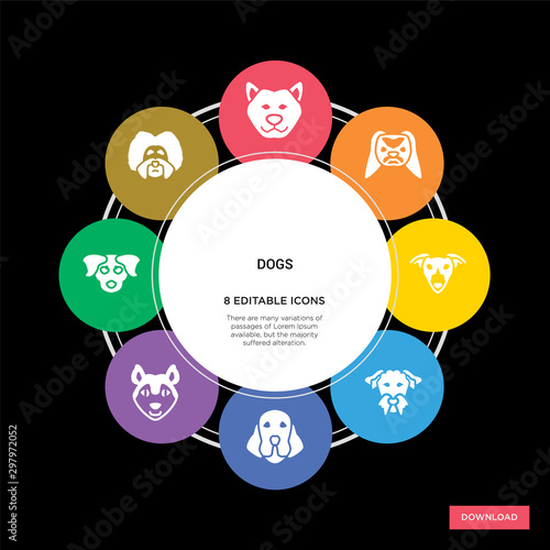 Canvas Print 8 dogs concept icons infographic design
