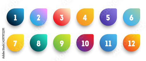 Obraz na plátně Colorful gradient arrow bullet point set with number from 1 to 12