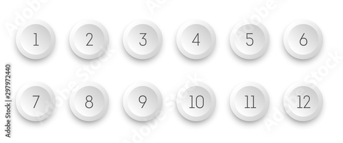 Fotografia Circle 3d icon set with number bullet point from 1 to 12.