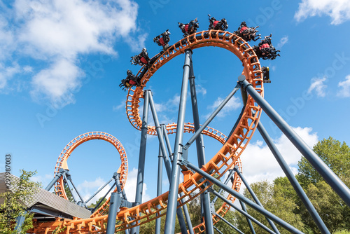Stampa su Tela Ferris wheel and roller coaster, France