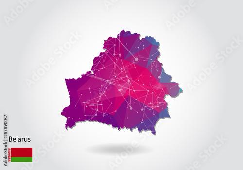 Canvas Print Vector polygonal belarus map