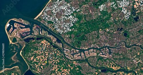Fotografie, Obraz Satellite image of the port of Rotterdam, Netherlands